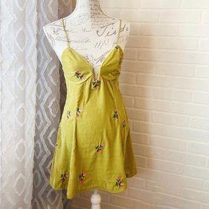Mustard Green Velvet Floral Mini Dress/Top